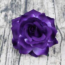 Purple 5P Artificial Fake Flower Heads Bulk Silk Large Rose Craft Wedding Decor