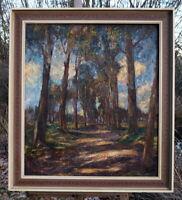 excellentes Bild Prunkrahmen Baumallee Impressionismus signierte Künstlerarbeit