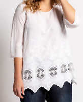 Ulla Popken blouse top plus size 20/22 28/30 32/34 ivory white scallop hemline
