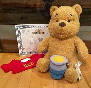2020 Build-A-Bear Classic Disney Winnie Pooh Bear Plush Phrases Shirt Hunny Pot