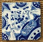 ANTIQUE 18C DUTCH DELFT BLUE AND WHITE TILE ABSTRACT FLORAL DESIGN