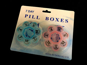 2x Flower 7- Day Plastic Pill Box Weekly Medication Organizer Container NEW