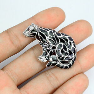 Round Red Ruby 2mm Marcasite Champagne Natural 925 Sterling Silver Tiger Brooch