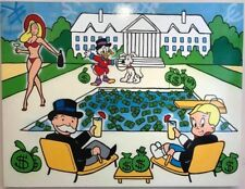 """Alec Monopoly """"Monops&Richie Drinks at the Pool"""" Oil Painting on Fabric Poster"""