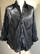 RED HOT PLUS Size 24 Silver Semi-Sheer Lame' Button Front 3/4 Sleeve Shirt