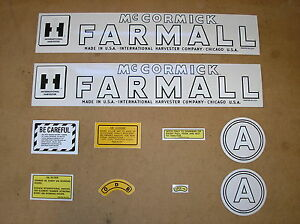 IH / McCORMICK FARMALL  A  DECAL SET  1945-1948  NEW MYLAR  # 21-17-5