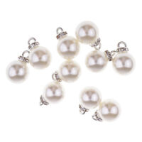 10pcs Pearl Rhinestone Pendants Charms for DIY Necklace Jewelry Making 12mm