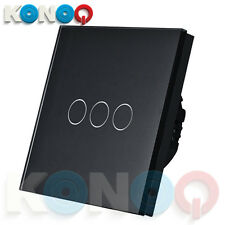 KONOQ Luxury Glass Panel Touch LED Light Wall Switch : ON/OFF, Black, 3Gang/1Way