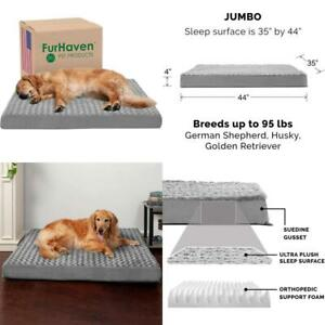 Furhaven - Traditional Orthopedic Rectangular Mattress Dog Bed - Available in Mu
