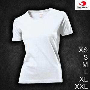 Damen Lady Girl T-Shirt NEU Weiss kurzarm Markenshirt Stedman XS S M L XL XXL