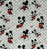 """Mickey Mouse Fabric Fat Quarter Cotton Quilt DIY Mask 18"""" X 22"""" Tossed Mickey"""