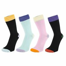 Plain Colour Ankle Socks With Contrasting Coloured Hem and Toes (Size: 4-7)