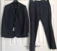 "Hugo Boss Mens Hutson/Gander Super 100 Wool Suit Grey Blue Eu 52 42R 36"" W New"