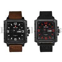 Mens Quartz Watches Square Date Week Day Dial Leather Quartz Analog Wrist Watch
