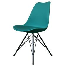 Fusion Living Eiffel Inspired Teal Plastic Dining Chair- Various Leg Bases