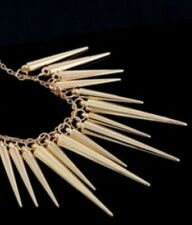 AWESOME Gold Metal Tone Long Spikes Necklace