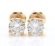 1.00 Carat Natural VS2 Diamonds in 14K Solid Yellow Gold Stud Earrings