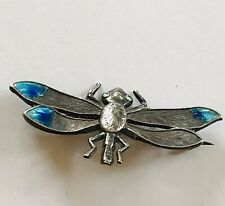 An Antique Charles Horner Sterling Silver and Enamelled Dragonfly Brooch C1910