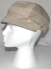 Ladies Flat Cap Wool Mix Hat Ultra Trendy One Size Beige Mix 6 Panel  A003.30