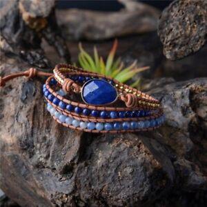 Natural Lapis Lazuli Geode Beads Beaded Wrap Bracelet Leather Cuff Blue Gold