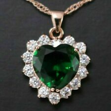 """Heart Green Emerald Diamond Halo Pendant Necklace Gold Plated Jewelry 18"""""""