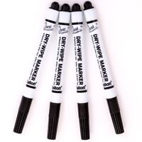 4 PACK BULLET TIP BLACK DRY WIPE MARKER PENS Easy Erase Office Whiteboard Pens