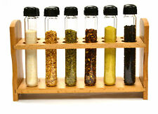 Hand Made Test Tube Spice Rack, Wooden Rack with 12 Borosilicate Test Tubes