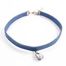 New Fashion Blue Denim Tattoo Crystal Pendant Choker Collar Jewelry Necklace