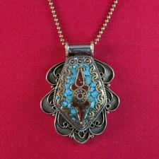 """Pendentif métal """"Cravate"""" turquoise/corail + chaine"""