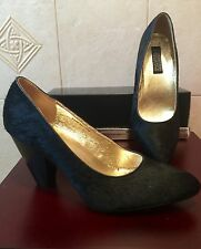 "NEW ""Deena & Ozzy"" URBAN OUTFITTERS BLACK PONY HAIR PUMP HEEL SHOE SIZE 9 9M"