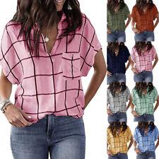 Women Casual Check Printed Pocket Tee Loose Blouse Basic Short Sleeve Shirt Tops