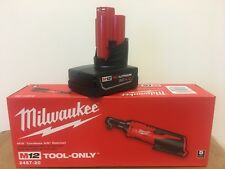 "Milwaukee 2457-20 M12 12V 3/8"" Inch Cordless Ratchet + (1) 4.0AH M12 Battery"