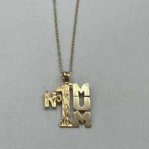 "9ct Gold Hallmarked 16"" No1 MUM Necklace.  Goldmine Jewellers."