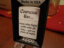 CONFUCIUS SAY MAN WHO FIGHT GET NO PIECE AT NIGHT ZIPPO LIGHTER MINT IN BOX