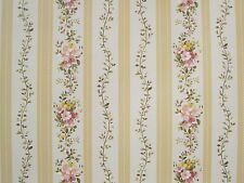 YORK YELLOW STRIPES & PINK FLOWERS wallpaper Double Roll