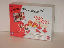 Toy Pintoy Firefighting Accessories Set w/ Hoses Barricades Cones Fires NIP