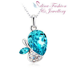 18K White Gold GP Made With Swarovski Crystal Stunning Aquamarine Apple Necklace