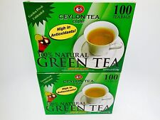 (2 BOXES)Ceylon Tea Club Pure Green Tea  Bags - 100 Staple-Free Bags per Box