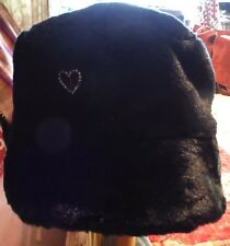 Gorgeous, Marks & Spencers Black Faux Fur, Womens Hat with Sparkly Heart Brooch.