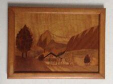 Incrustación de Marco Antiguo Paisaje tradicional Taracea Art & Craft firmado c.1938