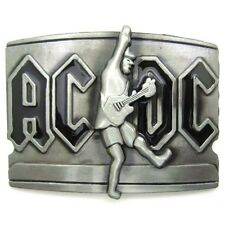 Pewter AC DC Music Metal Belt Buckle Mens Vintage Cool Rock Roll Black Letters