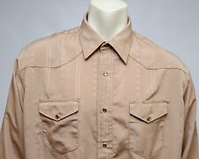 Wrangler Mens Western Shirt Snap Buttons Beige Khaki Polyester Size Large