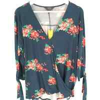 Teal STITCH FIX - MIX by 41Hawthorn Floral Print Surplice Top 3/4 Sleeve