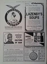 1906 ADVERT ALCOCKS PLASTERS-EVANS VACUUM CAP-LAMBERT & Co-LAZENBY'S SOUPS