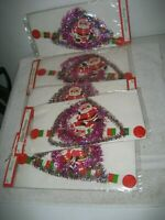5 Vintage Cardboard Santa Tinsel Hanging Christmas Decorations Mobile 1970s