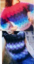 "#113 Ladies Mohair Entrelac Top& Sweater Vintage Knitting Pattern 35-45"" 89-114c"