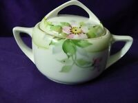 Sugar Bowl Vintage Nippon Hand Painted White Pink Roses  1930s-1940s