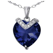 10.4Ct Created Blue Sapphire Heart Pendant Necklace 925 Sterling Silver w/ Chain
