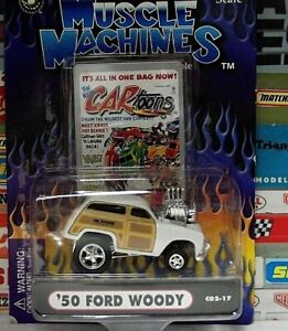 MUSCLE MACHINES 1:64 CARTOONS WHITE '50 FORD WOODY .....C02-17.....#71171