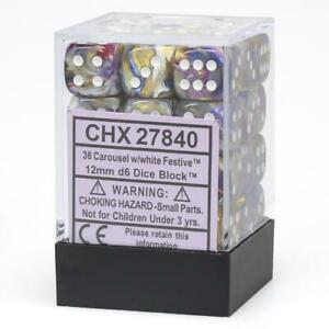 Chessex Festive™ Carousel with White Pips 12mm Dice Block (36 dice)